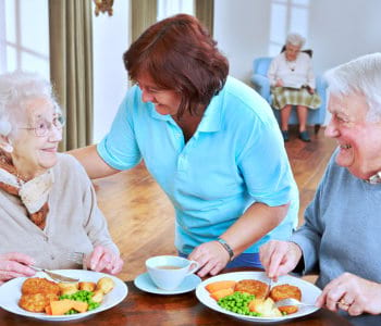 caregiver serving meal to the senior couple