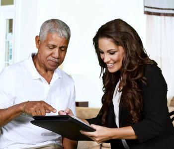 senior man session with caregiver